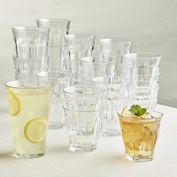 Duralex Glassware - Assorted Clear Glass Picardie Tumblers - Set of 18