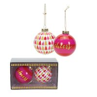 Set of 2 Glass Baubles (Pink)