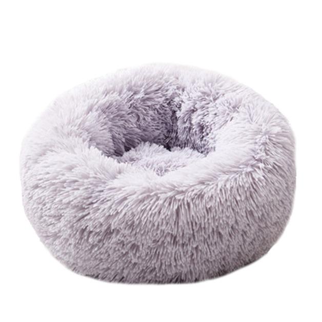 Ape Basics: Long Plush Warm Round Pet Bed - Light Gray (Large)
