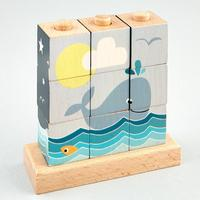 Floss & Rock: Wooden Cube Puzzle - Whale