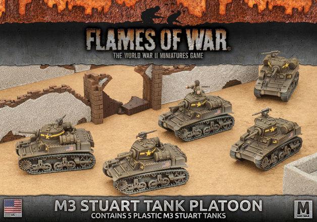 Flames of War: Fighting First - M3 Stuart Light Tank Platoon (Plastic)