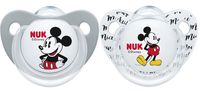 NUK: Mickey Silicone Soothers - 6-18 Months - Grey & White (2 Pack)