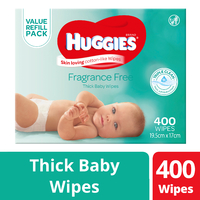 Huggies: Baby Wipes Fragrance Free - Mega Pack (400) image