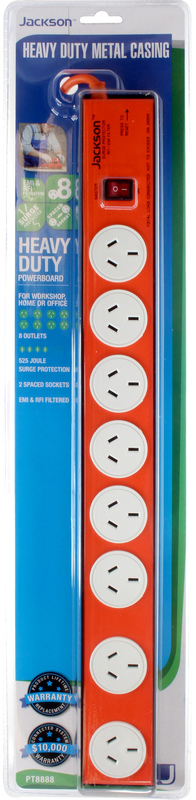 Jackson 8 Outlet Heavy Duty Metal Housing Powerboard with Surge Protection