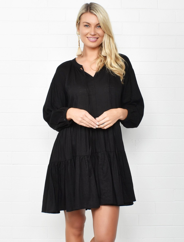 Adorne: Lulu Tiered Dress Black - S/M