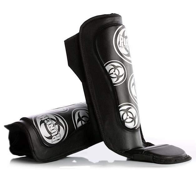 Punch: MMA Shin Pads - Medium (Black/White)