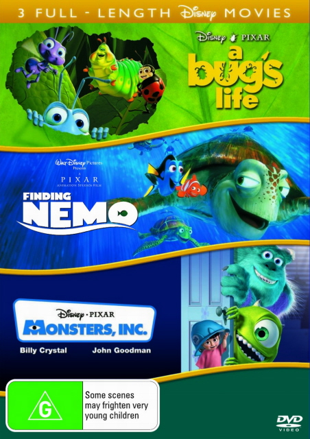 Finding Nemo / Monsters, Inc. / A Bug's Life - Triple Feature (3 Disc Set) on DVD image