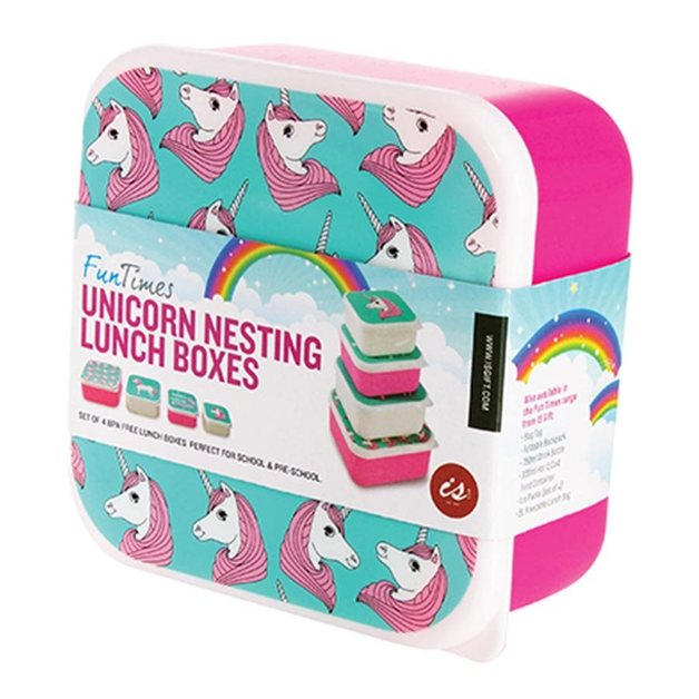 IS GIFT: Fun Times Nest Lunch Boxes - Unicorns (Set Of 4)