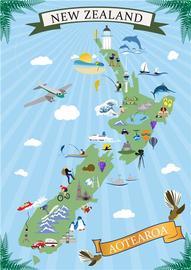 New Zealand Icons - Retro Art Map Tea Towel