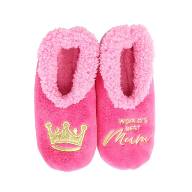 Slumbies: World's Best Mum Pink - Womens Slippers (Large)