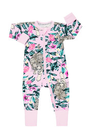 Bonds Zip Wondersuit Long Sleeve - Unreal Tiger Pink (New Born)