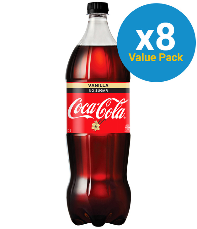Vanilla Coke No Sugar Soft Drink 1.5l (8 Pack)