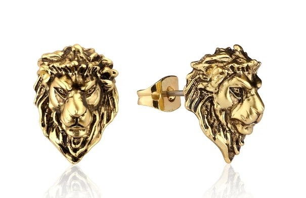 Couture Kingdom: Disney The Lion King Adult Simba Stud Earrings - Yellow Gold image