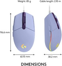 Logitech G203 LIGHTSYNC RGB Gaming Mouse (Lilac) for PC