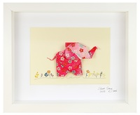Short Story: Happy Pink Elephant - Small Frame (White)