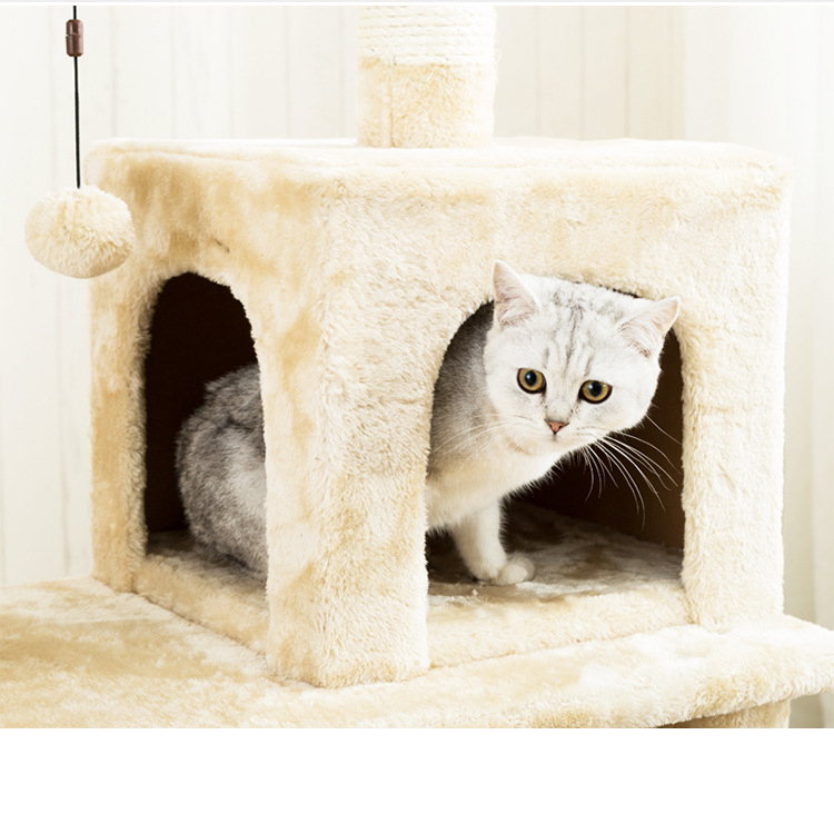 Gorilla: Cat Tree (6 Levels) With Hammock 1.4M - White / Light Brown image