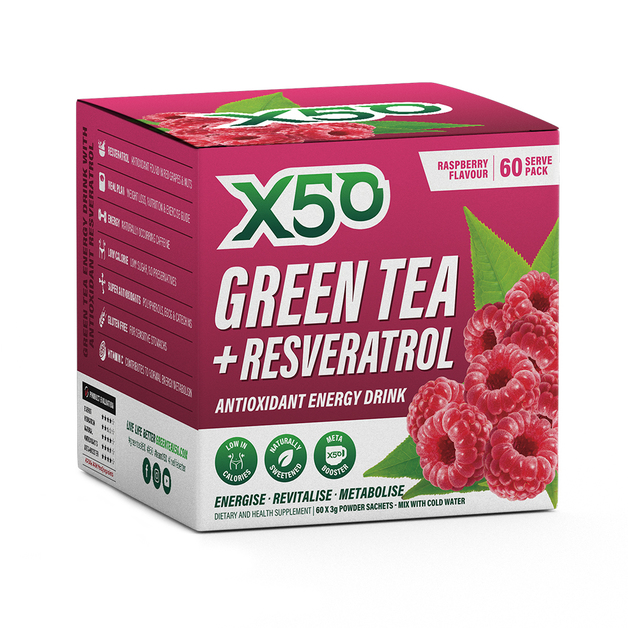Green Tea X50 + Resveratrol - Raspberry (60 serves)