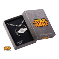 Star Wars Tie Fighter Etched Pendant Necklace image