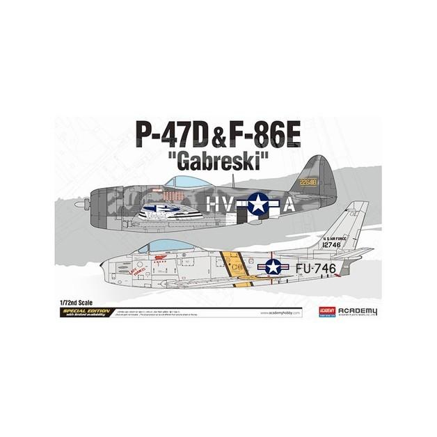 "Academy 1/72 P-47D & F-86E ""Gabreski"" Le Scale Model Kit"