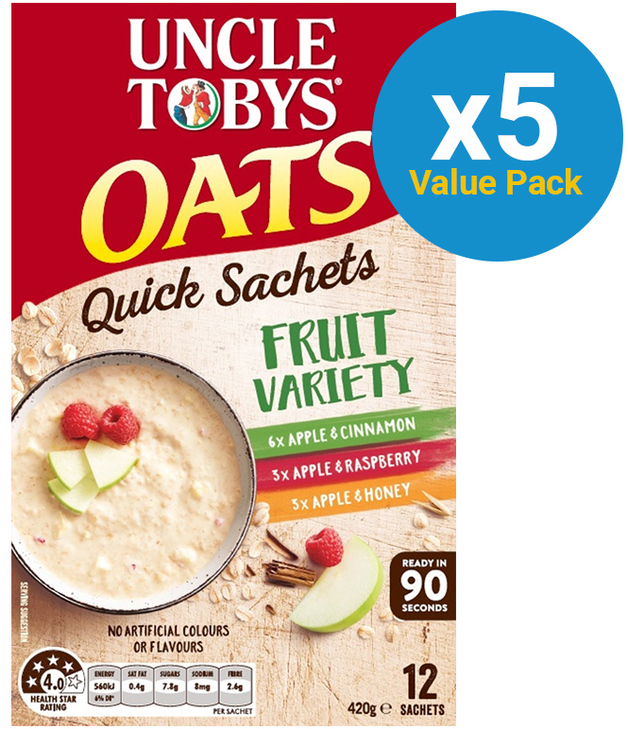Uncle Tobys Oats (Variety Fruit, 420g) 5pk