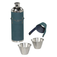Ted Baker Hip Flask with Shot Cups (Teal)