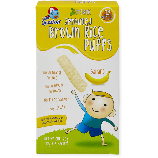 Little Quacker: Sprouted Brown Rice Puffs - Banana (20g)