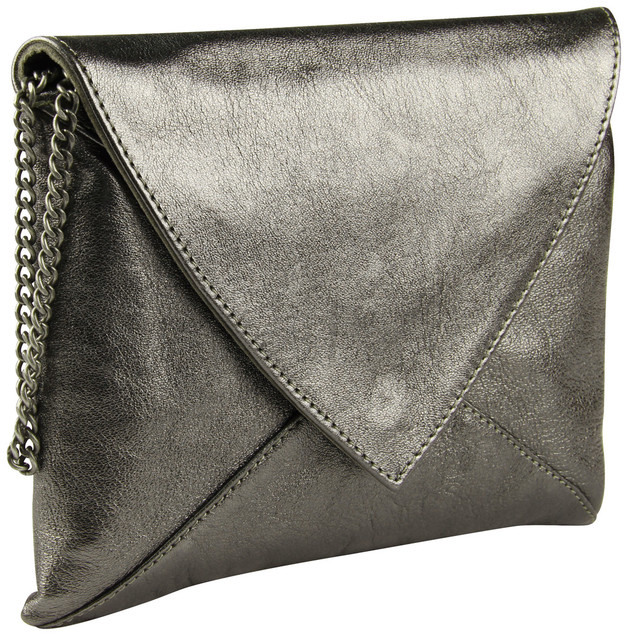 Clairefontaine: Cuirise Leather Smeralda Shoulder Bag - Graphite