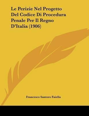Le Perizie Nel Progetto del Codice Di Procedura Penale Per Il Regno D'Italia (1906) by Francesco Santoro Faiella