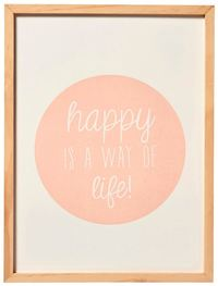 Transomnia: Large Framed Pastel Sign - Happy Life