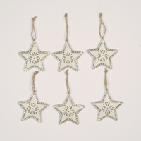 Silver & White Star Hanging Decorations (Set of 6)