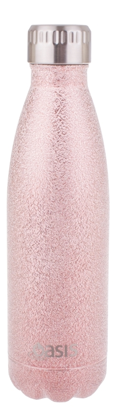 Oasis Insulated Stainless Steel Shimmer Water Bottle - Blush (500ml)