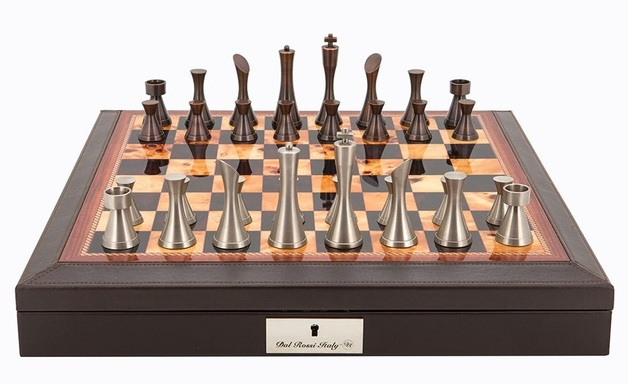 "Dal Rossi: Contemporary Metal - 18"" Chess Set (PU Brown)"