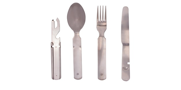 Kiwi Camping Clip-in Stainless Steel Cutlery Set