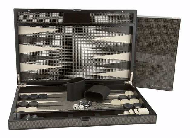 "Dal Rossi: Carbon Fibre Finish - Backgammon Set (18"")"