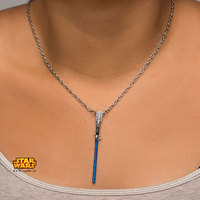 Star Wars: Blue Titanium Plated Lightsaber Necklace