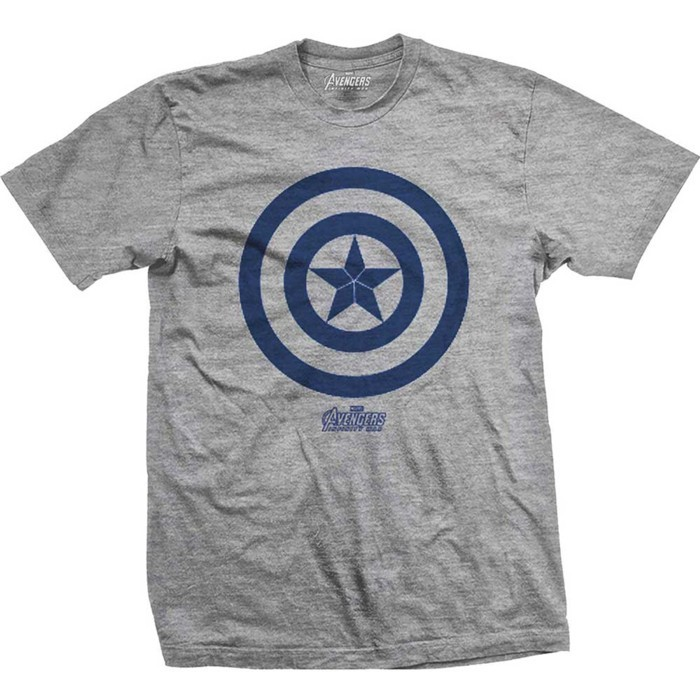 Avengers Infinity War Cap Am Icon Mens Grey TS: XL image