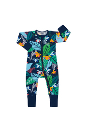 Bonds Zip Wondersuit Long Sleeve - Spy in the Jungle Navy (18-24 Months)