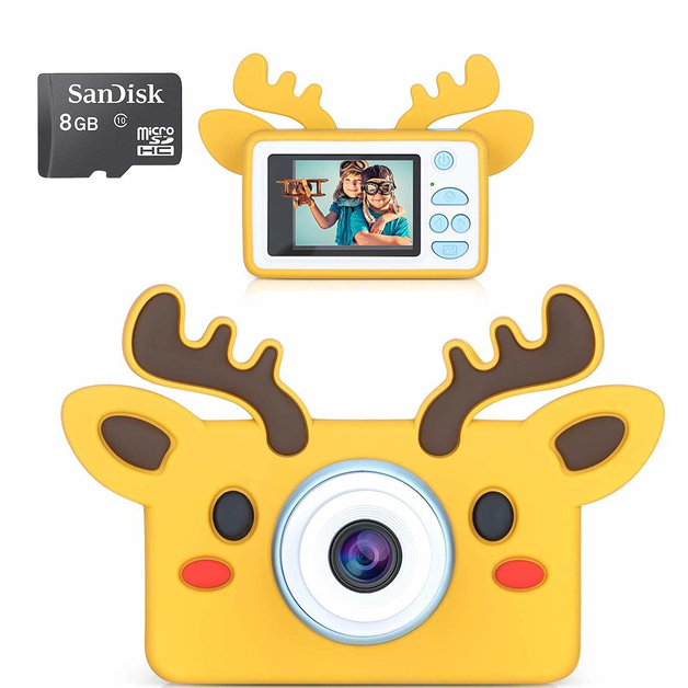 kids Digital Camera 1080P with 8GB SD Card - Brown Reindeer