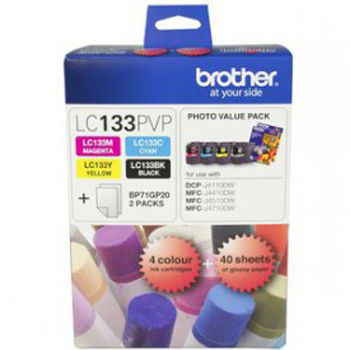 Brother LC-133PVP Combo Pack with 40 Sheets of 6x4 Photo Paper