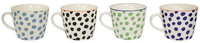 Assorted Colour Dotty Village Kiln Ceramic Mugs (Set of 4)