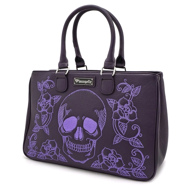 Loungefly: Floral Skull Double Handle Bag