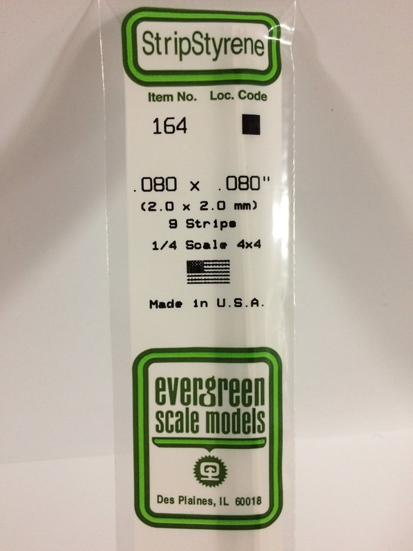 Evergreen Styrene Stripstyrene White 2 mm Sq (9)