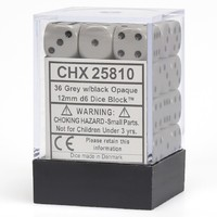Chessex: D6 Opaque Cube Set (12mm) - Grey/Black