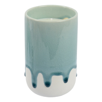 Crackle Glaze Scented Candle in Holder - Winter Frost Denim (Vanilla)