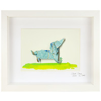 Short Story: Blue Dog - Small Frame (White)