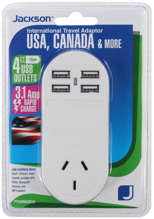 Jackson Outbound USA Travel Adapter With 4x (3.1A) USB Ports.