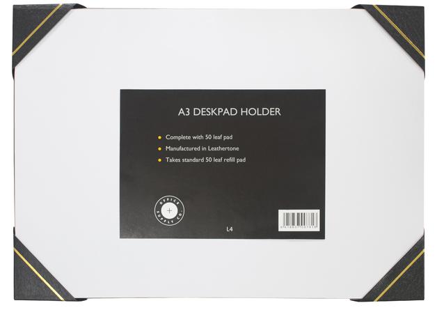 Office Supply Co: Desk Pad Leathertone 4 Black Corners (A3)