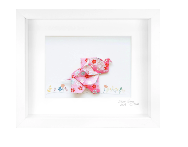 Short Story: Happy Pink Elephant - Small Frame (Pink)