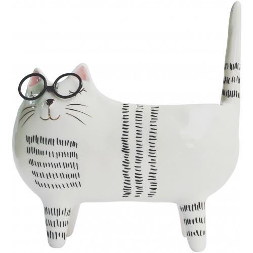 Cat with Glasses Planter Monochrome 17cm