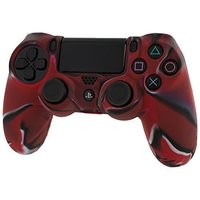 Pro Soft Silicone Protective Cover with Ribbed Handle Grip - Camo Red for PS4